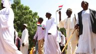 Sudanese protesters take part in a rally demanding the dissolution of the transitional government last week