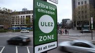 Ultra Low Emission Zone signs at Tower Hill in central London