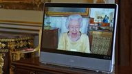 Queen Elizabeth II appears on a screen via videolink from Windsor Castle, where she is in residence, during a virtual audience to receive the Ambassador from the Republic of Korea, Gunn Kim, accompanied by HeeJung Lee (not seen), at Buckingham Palace, London. Picture date: Tuesday October 26, 2021.