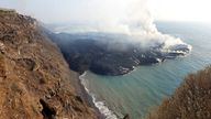 The lava peninsula formed by the Cumbre Vieja volcano eruption in La Palma, Canary Islands, Spain. Pic: IGNspain HANDOUT/EPA-EFE/Shutterstock