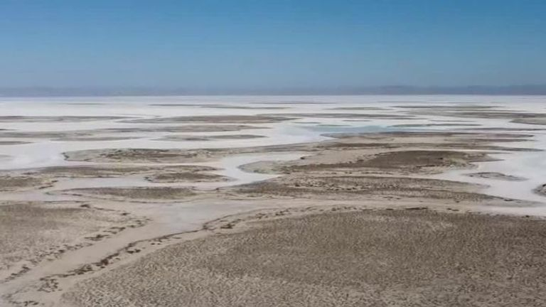 Lake Tuz in Turkey completely dried up this year