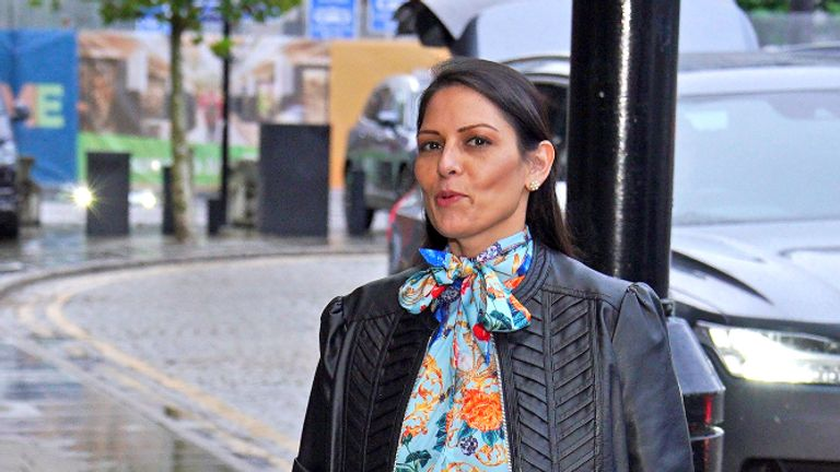 Home Secretary Priti Patel arrives at the Midland Hotel in Manchester ahead of Conservative party conference. Picture date: Saturday October 2, 2021.