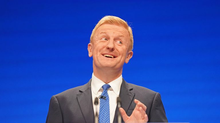 Conservative Party chairman Oliver Dowden during his speech at the Conservative Party Conference in Manchester. Picture date: Sunday October 3, 2021.