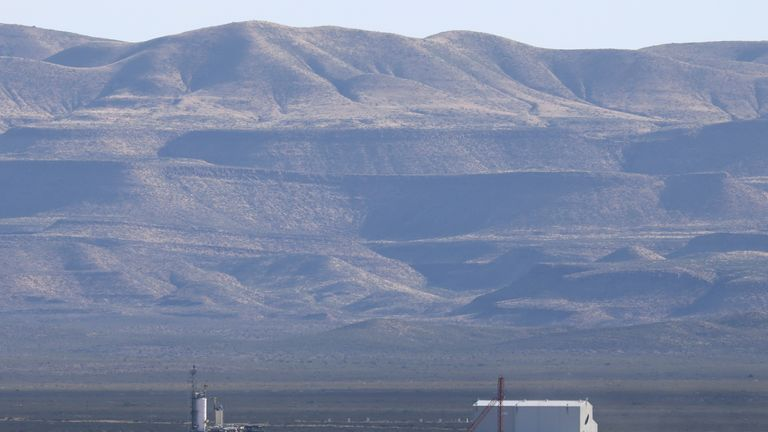 """A view of Billionaire Jeff Bezos's space company Blue Origin a day before he will send """"Star Trek"""" actor William Shatner, on board the company's New Shepard rocket, into space from the company's facilities near Van Horn, Texas, U.S., October 12, 2021.      REUTERS/Mike Blake"""