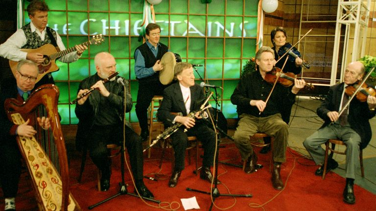 The innovative Irish band the Chieftains perform March 12, 1999 at CBS studios in New York during taping for CBS' Saturday Morning show. From left are Dereck Bell, Gabriel Donohue, Matt Molloy, Kevin CoConneff, Paddy Moloney, Sean Kean, Eileen Ivers and Martin Fay. Ivers is a guest performer with the band. (AP Photo/Kim Garnick)