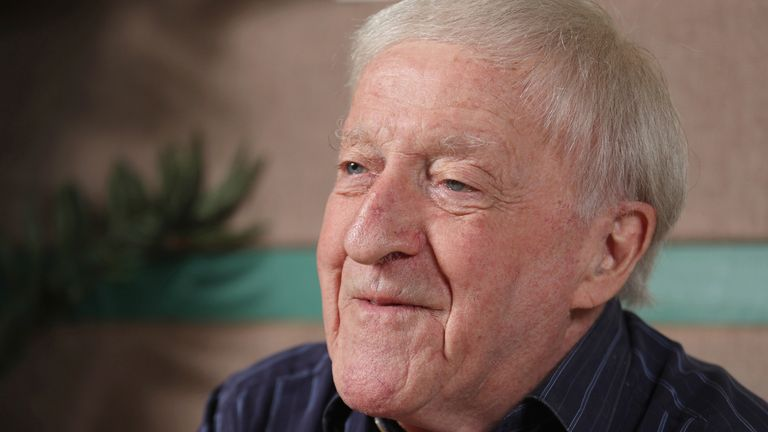 """Paddy Moloney, a member of Irish band """"The Chieftains"""" speaks during an interview conducted by the Yomiuri Shimbun in Tokyo on Aug. 27, 2017. ( The Yomiuri Shimbun via AP Images )"""