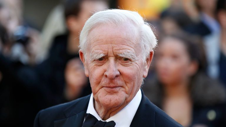 """CORRECTS PUBLISH DATE TO SEPT. 5 FROM SEPT. 6 - FILE - This Sept. 13, 2011, file photo shows British author John Le Carre at the UK film premiere of """"Tinker Tailor Soldier Spy,"""" in London. After a hiatus of more than 25 years, le Carre is again writing about one of the world's most famous fictional spies. Viking said Tuesday, March 7, 2017, that le Carre's """"A Legacy of Spies"""" will come out Sept. 5. (AP Photo/Sang Tan, File)"""