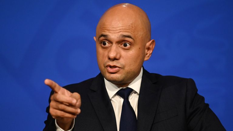 Health Secretary Sajid Javid during a media briefing in Downing Street, London, on coronavirus (Covid-19). Picture date: Tuesday October 19, 2021.