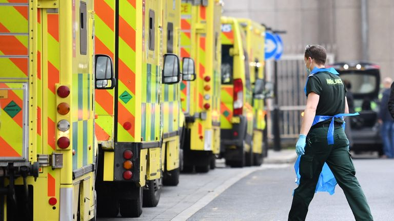 File photo dated 12/01/21 of ambulances at Whitechapel hospital in London. A majority of the issues in Scotland's hospitals and the knock-on effect to the ambulance service are not due to Covid, a top surgeon has said. Issue date: Friday September 17, 2021.