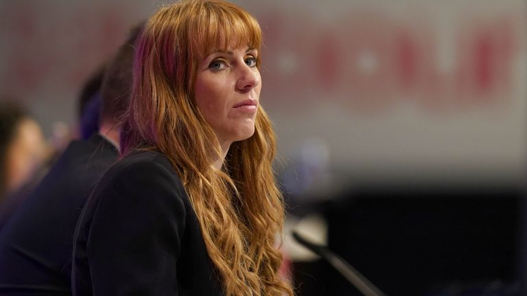 Labour deputy leader Angela Rayner listening to speakers on the main stage during the Labour Party conference at the Brighton Centre. Picture date: Tuesday September 28, 2021.