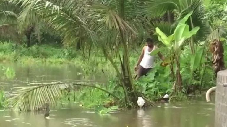 At least eight people have officially died and another 12 are missing after the southern Indian state of Kerala was hit by flooding.
