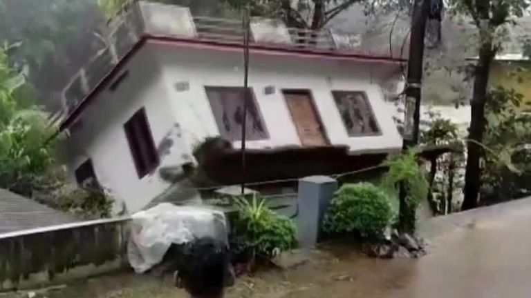 India's floods have seen many killed in landslides and homes swept away as the devastation continues.