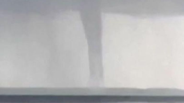 Cubans were marvelled by a rare waterspout spinning off the coast of Cienfuegos on Saturday (October 16).
