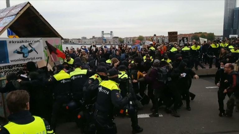 Police clash with protesters demonstrating against increasing rental prices and a lack of affordable housing.