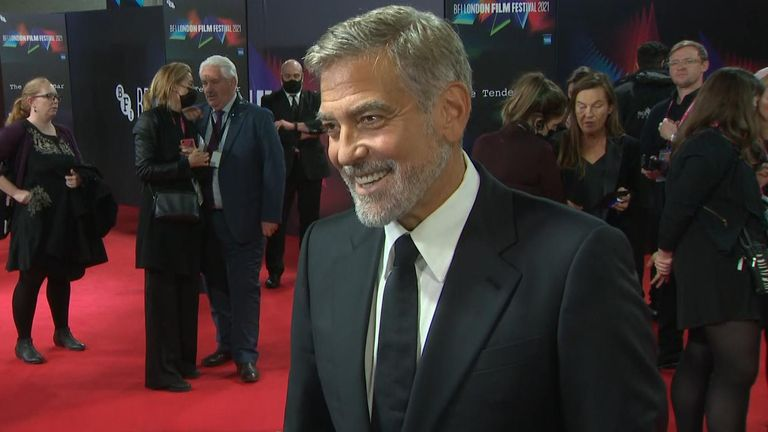 George Clooney red carpet interview at UK premiere of his film The Tender Bar