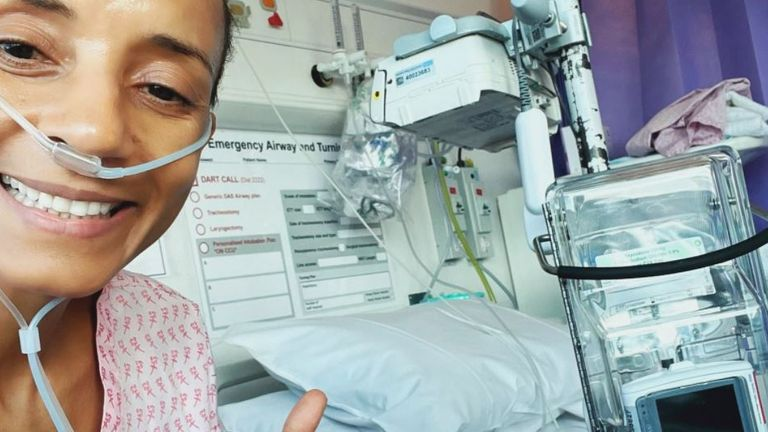 Adele Roberts shared this picture from her hospital bed after undergoing surgery to remove a tumour. Pic: @AdeleRoberts