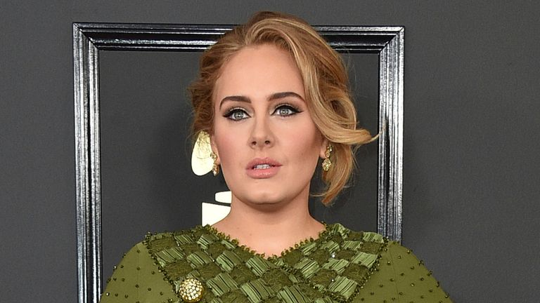 Adele arrives at the 59th annual Grammy Awards in Los Angeles in 2017. Pic: Jordan Strauss/Invision/AP