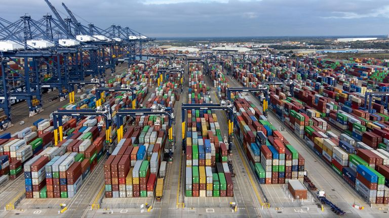 Thousands of shipping containers at the Port of Felixstowe in Suffolk, as shipping giant Maersk has said it is diverting vessels away from UK ports to unload elsewhere in Europe because of a build-up of cargo. Picture date: Wednesday October 13, 2021.