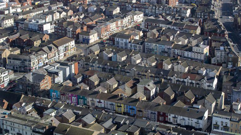 A general view from Blackpool Tower of terraced houses in Blackpool, Lancashire. Picture date: Tuesday March 16, 2021.