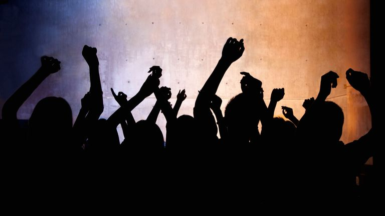 A crowd of young people dancing in a nightclub Stock image  Releases: Model - yes | Property - yes