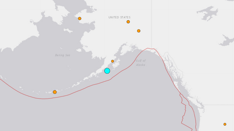 A map from the United States Geological Survey shows where the earthquake struck in Alaska