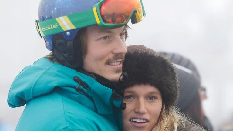 Australia's Alex Pullin, left, hugs his girlfriend Ellidy Vlug in 2014. Pic: AP