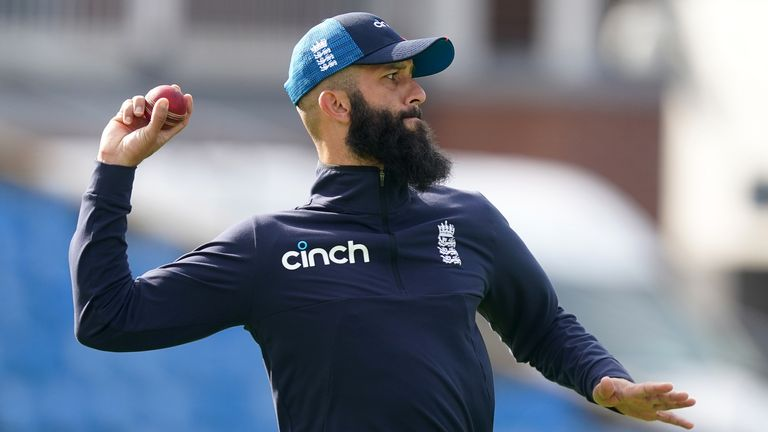 England's Moeen Ali during a nets session at Emerald Headingley, Leeds. Picture date: Monday August 23, 2021.