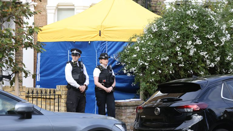 Police outside a house in north London, thought to be linked to Ali Harbir Ali