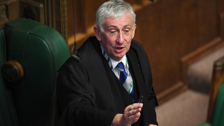 Britain's House Speaker Lindsay Hoyle speaks during question period at the House of Commons in London, Britain July 22, 2020. UK Parliament/Jessica Taylor/Handout via REUTERS THIS IMAGE HAS BEEN SUPPLIED BY A THIRD PARTY. IMAGE CAN NOT BE ALTERED IN ANY FORM. MANDATORY CREDIT