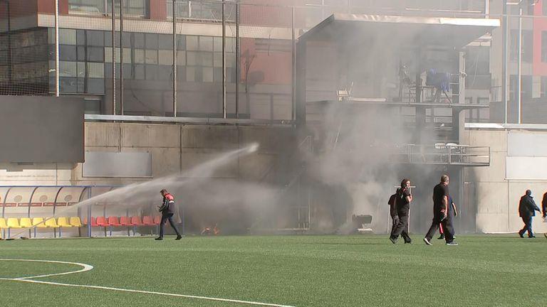 Fire in Andorra stadium