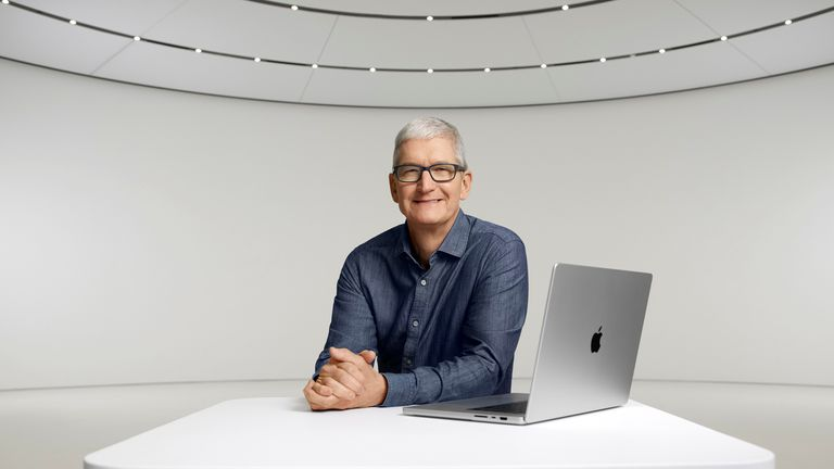 Apple's chief executive Tim Cook introduced the new laptop and earbuds during a live-streamed launch event on Monday