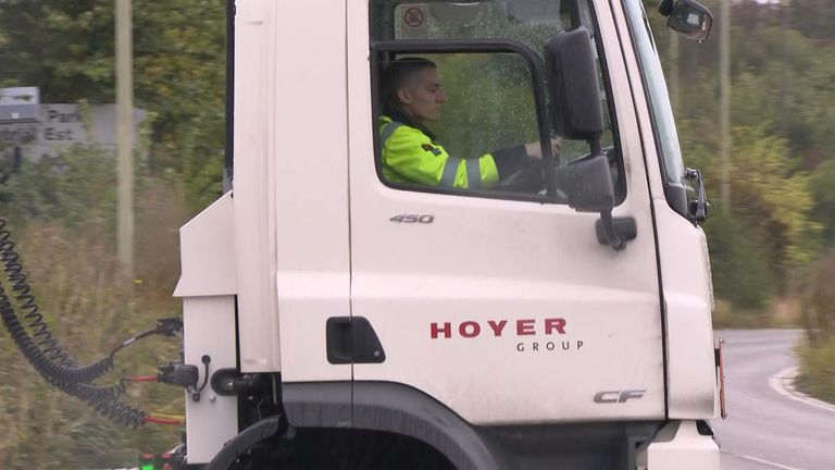 Soldier driving fuel tanker.