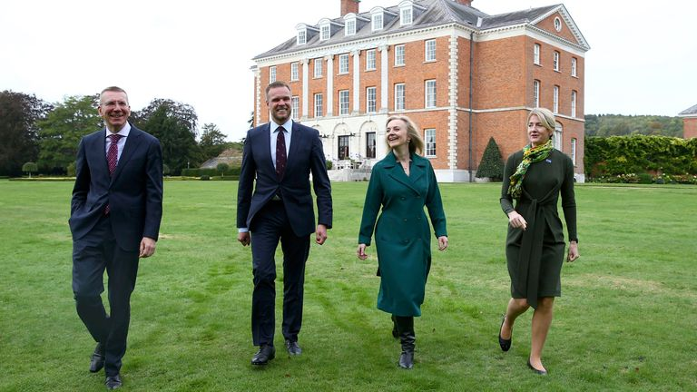 Foreign Secretary Liz Truss meets with the three Baltic Foreign Ministers Edgars Rinkvis (left), Minister of Foreign Affairs of Latvia, Gabrielius Landsbergis, Minister of Foreign Affairs of the Republic of Lithuania and Eva-Maria Liimets (right), Minister of Foreign Affairs of the Republic of Estonia at Chevening House in Kent. Picture date: Monday October 11, 2021. PA Photo. See PA story POLITICS Baltic. Photo credit should read: Hollie Adams/PA Wire