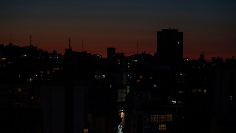 Beirut remains in darkness during a power outage . File pic: AP