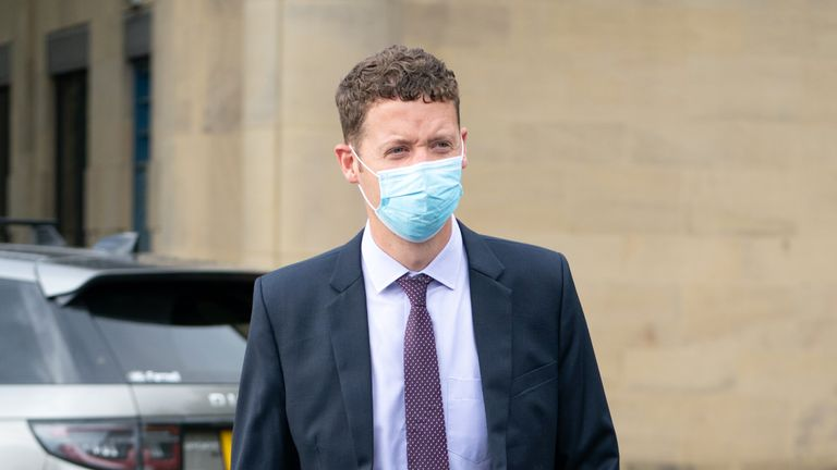 Sergeant Ben Lister leaves Bradford Crown Court, where he is on trial accused of raping and sexually assaulting a woman in Bradford on August 29 2016. Picture date: Tuesday October 5, 2021.