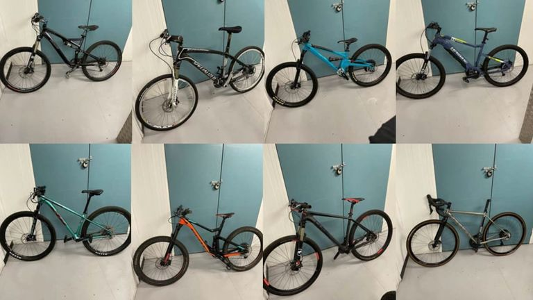 Eight of the 20 bikes which were recovered. Pic: Metropolitan Police