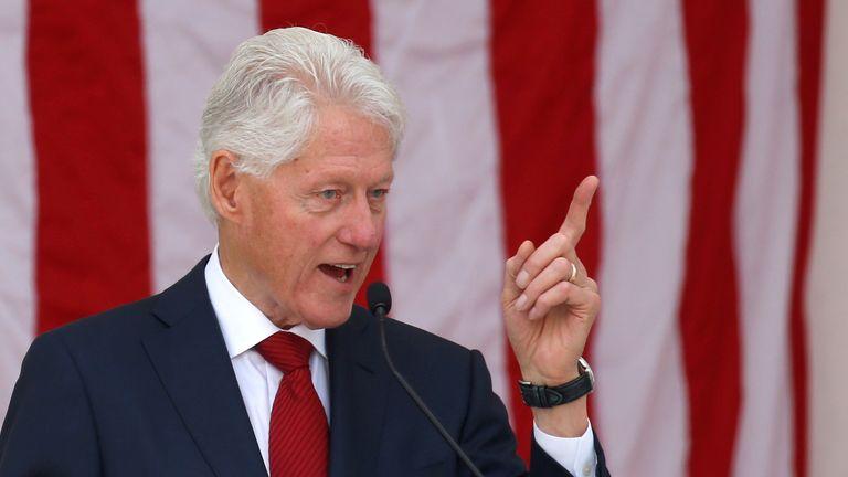 Former U.S. President Bill Clinton speaks during a public memorial for Robert F. Kennedy in 2018