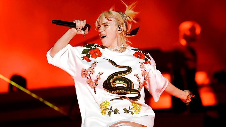 Billie Eilish performs at Global Citizen Live in Central Park on Saturday, Sept. 25, 2021, in New York. (Photo by Evan Agostini/Invision/AP)