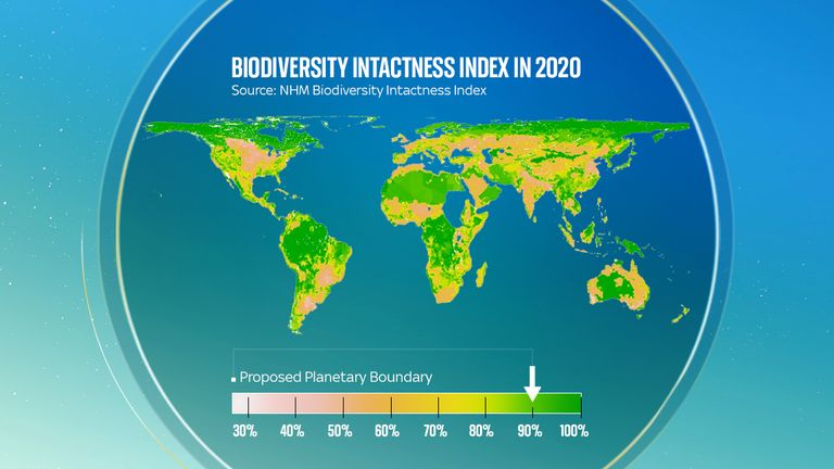 The global average for biodiversity intactness of 75% is well below the safe threshold of 90%, which would allow ecosystems to absorb shocks rather than being tipped over into breakdown