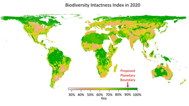 The global average for biodiversity intactness of 75% is well below the safe threshold of 90%, which would allow biodiversity to  absorb shocks rather than be tipped over. Source: Natural History Museum