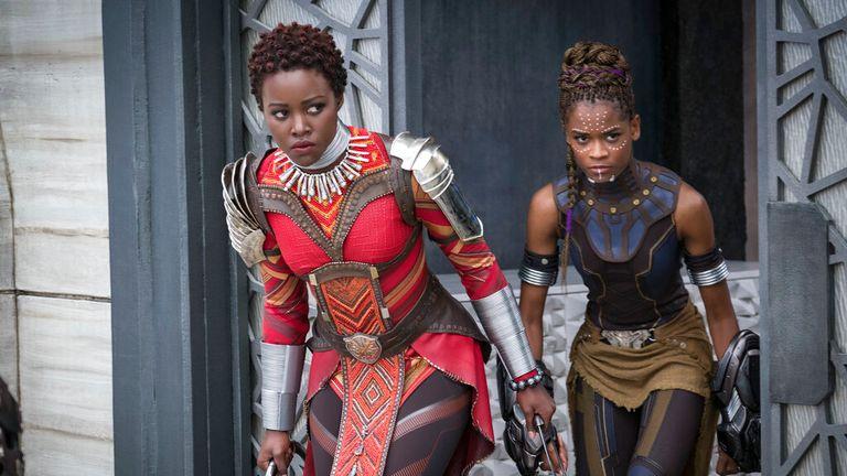 Marvel Studios' BLACK PANTHER..L to R: Nakia (Lupita Nyong'o) and Shuri (Letitia Wright)..Photo: Matt Kennedy....Marvel Studios 2018