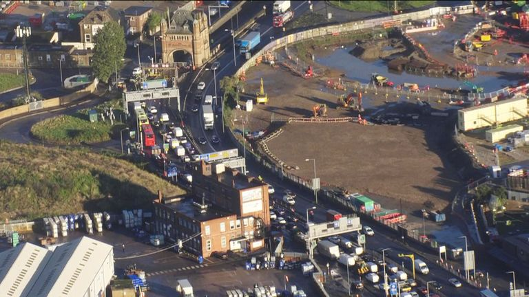 Insulate Britain  cause traffic chaos as they block Blackwall Tunnel PIC: Sky Grab