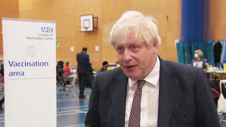 Boris Johnson speaking at a vaccination centre in West London