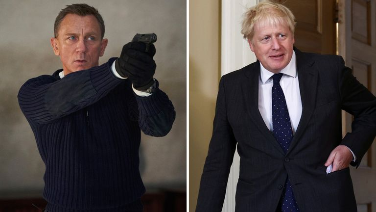 Boris Johnson used his White House-style press briefing room, which cost £2.6 million, to watch the new James Bond film with staff Pic: AP/Reuters