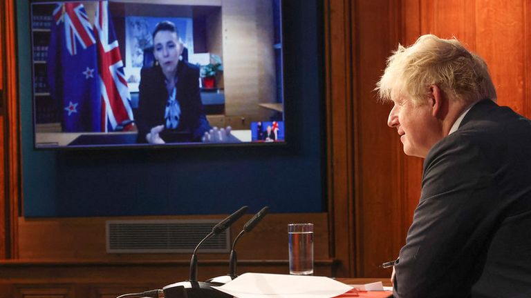 Prime Minister Boris Johnson video calls The New Zealand Prime Minister Jacinda Ardern to mark the UK/New Zealand Trade Deal. 09 Downing Street. Picture by Tim Hammond / No 10 Downing Street