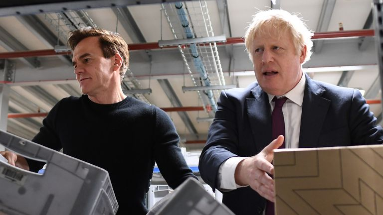 Prime Minister Boris Johnson during a visit to The Hut Group in Burtonwood, Warrington, while on the General Election campaign trail. 10/12/2019