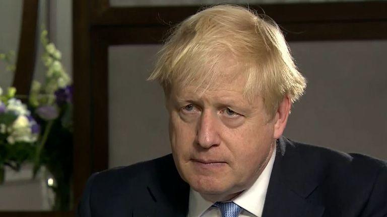 Boris Johnson speaks to Sky's Beth Rigby