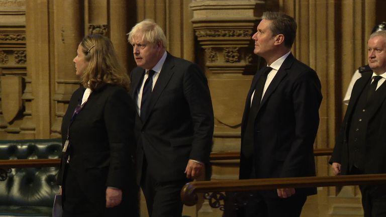 Prime Minister Boris Johnson leads MPs to a service for Sir David Amess near parliament