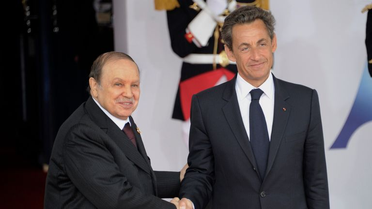 Former Algerian president Abdelaziz Bouteflika (L), pictured here with ex-French president Nicolas Sarkozy in 2011, was an ex freedom fighter who stayed in power for four consecutive terms. Pic: AP