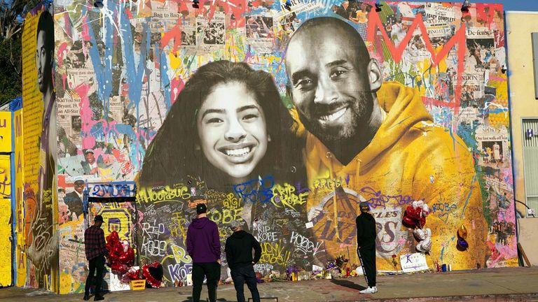 Kobe Bryant memorial mural at Sparadise La Brea at 1251 St. La Brea Ave., Sunday, Feb 16, 2020, in Los Angeles. The mural, created street artist Thierry Guetta aka Mr. Brainwash, showcases Bryant and his daughter Gigi Bryant